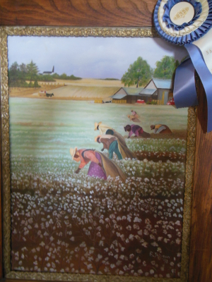 painting of enslaved Africans picking cotton